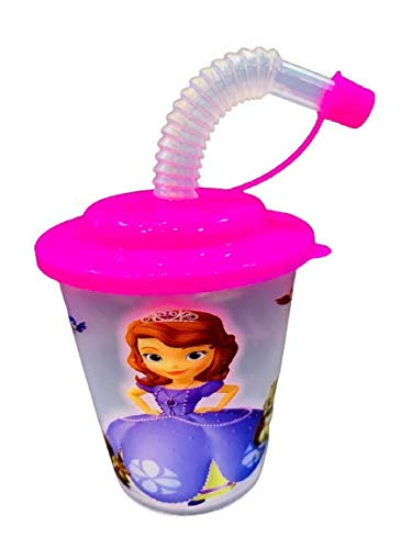 Azotiquee Kids Princess Sipper Glass with Straw for Milk Juice Water Soft Drinks (White, Transparent, 200 Ml)