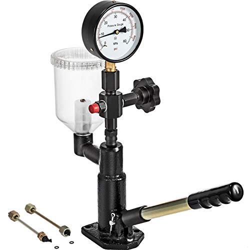 VEVOR Probador de Inyector de Combustible Diésel de 0-600 bar / 0-8.000 psi, Probador de Boquilla de Inyector Diésel con Indicador de Escala Dual para Ajustar La Presión de La Boquilla del Inyector