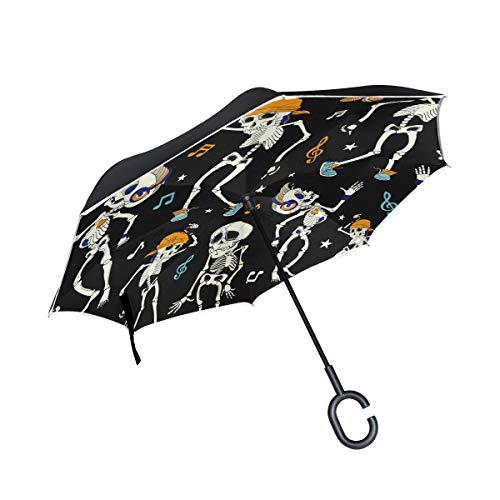 Paraguas invertido de Alino, divertido, con notas musicales de esqueleto bailando, paraguas reversible de doble capa, resistente al agua, para la lluvia del coche, al aire libre, con mango en forma de C