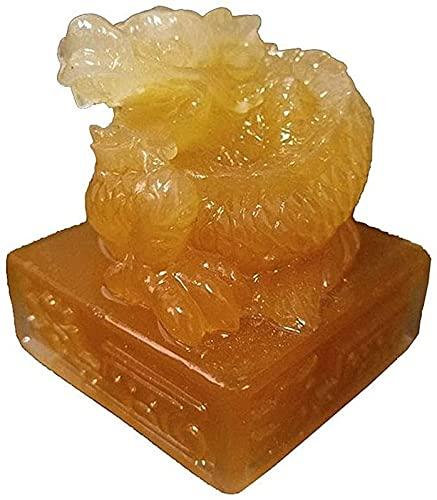JJDSN Figura de Estatua de dragón Chino, artesanía de Escultura de Sello de Jade Imperial de Piedra Hecha por el Hombre, Estatua de dragón del Zodiaco de Resina, Accesorios de decoración del hogar