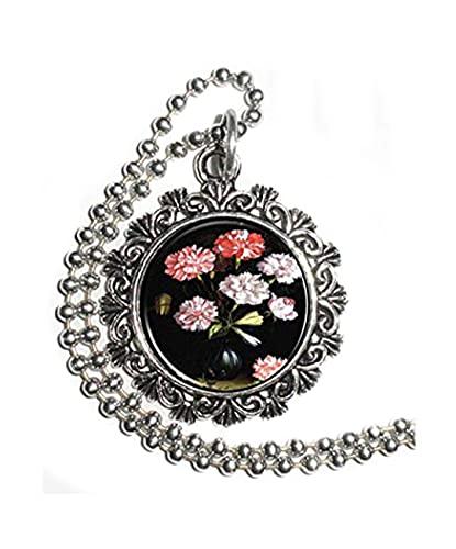 Leonid Meteor Shower Floral Study: claveles en un jarrón Art colgante, puro, hecho a mano, adornos de cristal cúpula, exquisito collar