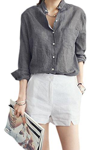 La Mujer Casual con Cuello Camisa De Lino Manga Larga Blusas Tops De Oficina Black L