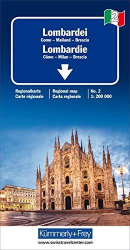 Lombardei Reisekarte Italien Nr. 2, 1:200 000: Como-Mailand-Brescia (Kümmerly+Frey Reisekarten)