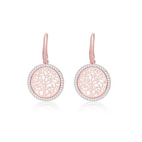 PengJin - Orecchini pendenti da donna, a forma di albero della vita, placcati in oro rosa e argento, anallergici, per il compleanno della ragazza e Rame, colore: Oro rosa, cod. PJ-E209-EH-0809-RG