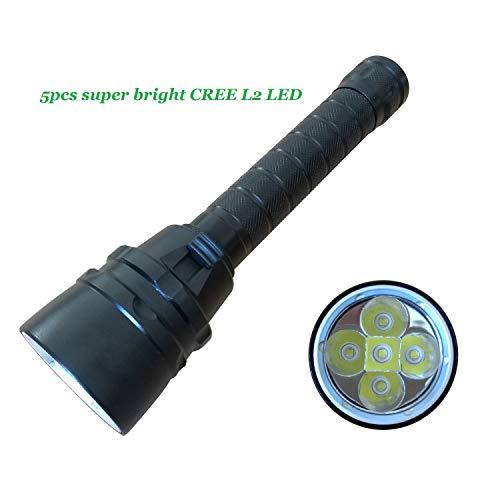 BIGMAC Linterna de Buceo Profesional, 5 Unidades, CREE L2, superbrillante, 4800 lúmenes, Submarino de 100 m, batería y Cargador incluidos