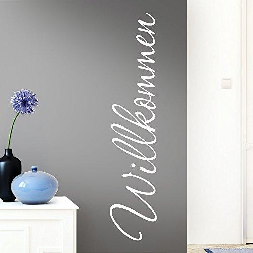 Grandora Wandtattoo Wort Willkommen I weiß 26 x 120 cm I deutsch Flur Diele Eingang selbstklebend Aufkleber Wandaufkleber Wandsticker W1099