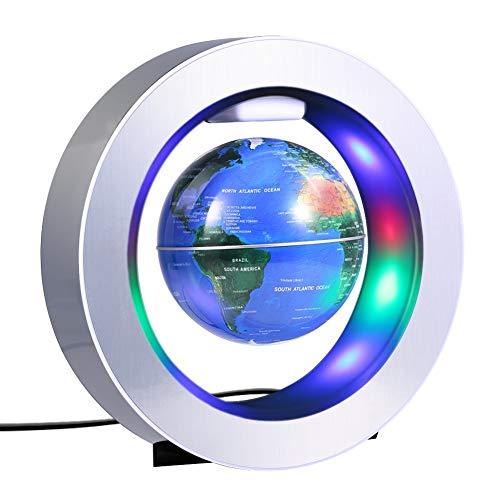 Desktop Globus HJCA Desktop Suspension Globe - C-vormig drijvend LED-licht magneetveld blootgesteld wereldkaart zwaartekracht onderwijs Home Desk Decoration (blauw) Leergerei, kantoor decoratie, handwerk