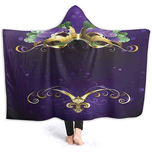 Henry Anthony 40X50 Zoll Mit Kapuze Decke Karneval Maske von Hellen Federn Erwachsene Warme Plüsch TV Wele Runde Ältere Decke für Frauen & Mädchen,
