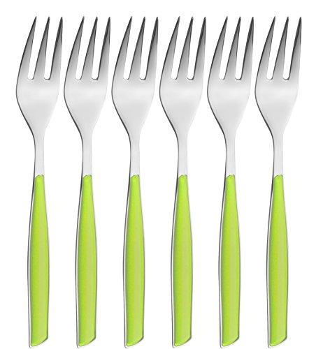 BUGATTI, Glamour, Set 6 Forchettine da Dolce in Acciaio Inox 18/10, Confezionato in Scatola Regalo (Verde Mela)
