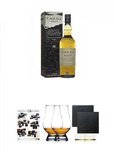 Caol Ila Moch Single Malt Whisky 0,7 Liter + Poster The Making of Malt Whisky DIN A1 + The Glencairn Glass Whisky Glas Stölzle 2 Stück + Schiefer Glasuntersetzer eckig ca. 9,5 cm Ø 2 Stück