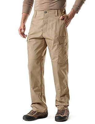 CQR Men's Tactical Pants, Military Combat BDU/ACU Cargo Pants, Water Repellent Ripstop Work Pants, Hiking Outdoor Apparel, Brigade Pants(ubp02) - Khaki, Regular/Medium