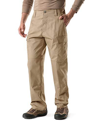 CQR Pantalones tácticos para hombre, military Combat BDU, repelentes al agua, Ripstop para trabajo, senderismo y actividades al aire libre., Hombre, Ubp02 1pack - Khaki, XL Lang