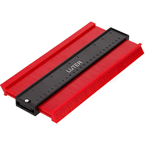 LUTER Kunststoff-Konturmesser, Profil-Messgerät Lineal Konturvervielfältiger für präzise Messungen Fliesen Laminat Holz Markierwerkzeug (Rot) (Breiter, Rot)