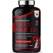 TESTOMAX 2.0 Testosterone Supplements for Men - 210 Vegan Capsules - Testosterone Booster - 17 Active Ingredients Including CoQ10, Maca Root, Fenugreek, Zinc & Magnesium - Test Booster - Nutravita