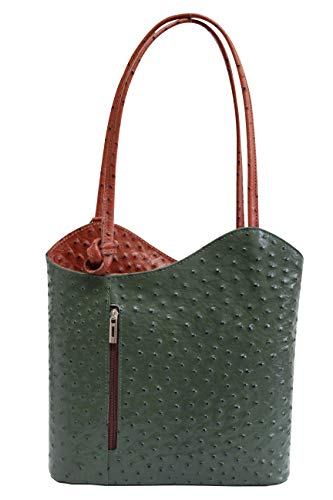 AMBRA Moda Damen Handtasche Lederrucksack Rucksacktasche Backpack 2in1 Rucksack Schultertasche SL703 (Dunkelgrün + Braun)