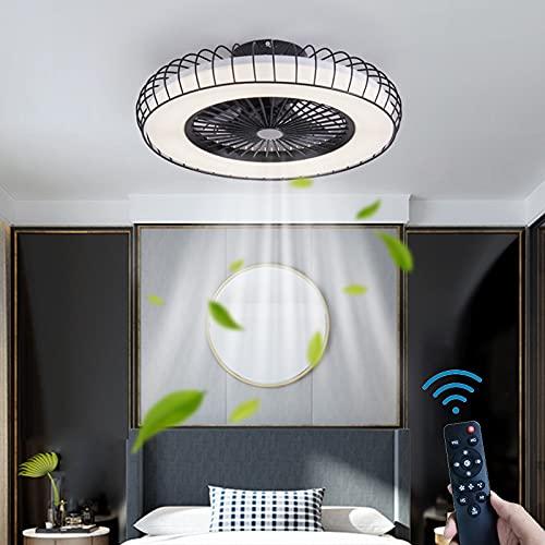 LED Ventilador de Techo Con Iluminación Y Control Remoto Regulable 36W Ventilador Lámpara de Techo Redondo Fan Luz de Techo Silencio 3 Velocidades del Viento Timer Para Cuarto Sala de Estar Negro