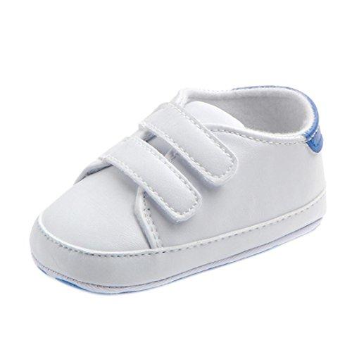 FNKDOR Baby Erste Schuhe Neugeborenen Lauflernschuhe Weiß Krabbelschuhe (0-6 Monate, Blau)