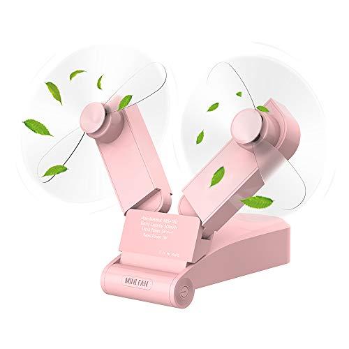 Simpeak Handhållen fläkt bärbar tyst rosa [två huvudlägen], 2 hastigheter USB-bordsfläktar kylning uppladdningsbara fickor hopfällbara fläktar för hem resor utomhus shopping