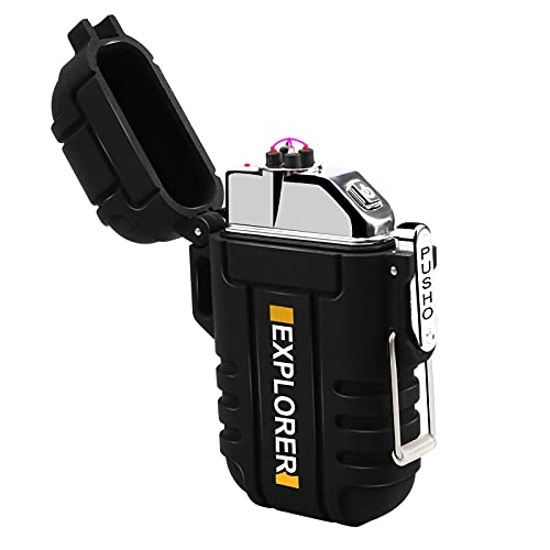 Outdoor electronic lighter, with USB windproof and waterproof function and rechargeable USB electronic lighter, suitable for camping, hiking and outdoor survival