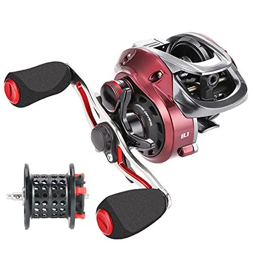 Seaknight Red Fox Carrete de Pesca Baitcasting Ultraligero para Carpas de Agua Dulce 7.2:1/8.1:1Alta Velocidad Sistema de Freno Micro centrífugo MAX Arrastre 13.2LB