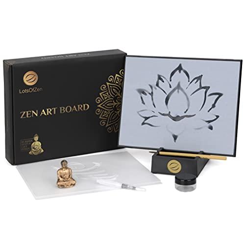 Zen Art Board (Zen Water Drawing Board Kit) — Buddha Water Painting — Zen Artist Board for Water Drawing Painting, Meditation, Anxiety, Calming, Relaxing