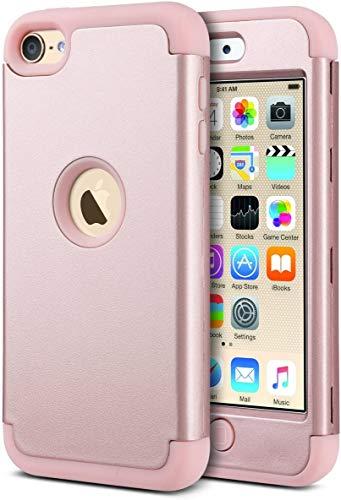 ULAK iPod 7 Hülle, iPod Touch 5/6 Hybrid Kratzfeste Schutzhülle 360 Grad Soft Silikon Stoßfest Bumper Case Cover für iPod Touch 5/6/7 Generation - Roségold