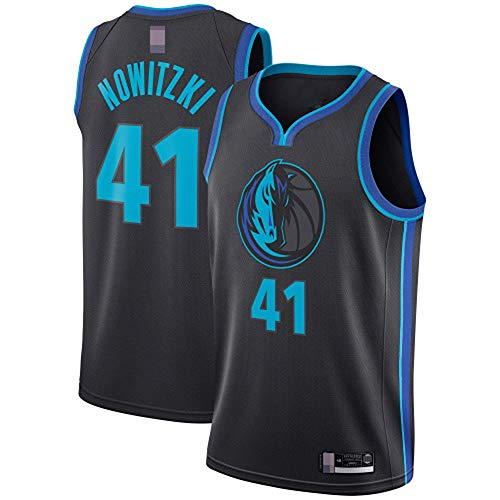 Männer Trikots, Dallas Mavericks # 41 Dirk Nowitzki - NBA Klassische Basketball Sportswear Lose Komfortwesten Tops Sleeveless T-Shirts Uniformen,Schwarz,L(175~180CM)