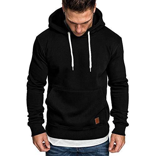 Umelar Herren Kapuzenpullover Sweatshirt Herren Hoodie Sweatjacke Pullover Hoodie (Schwarz, XL)
