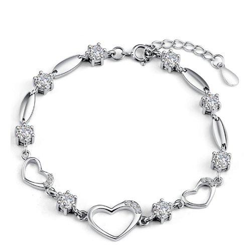 925 Pulsera de plata pura Pulsera pura joyería de plata pulsera en forma de corazón pulsera de plata femenina