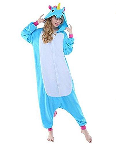 VineCrown Schlafanzug Einhorn Pyjamas Tier Overall Karikatur Neuheit Jumpsuit Kostüme für Erwachsene Kinder Weihnachten Karneval (S for 150CM- 160CM, Blau)