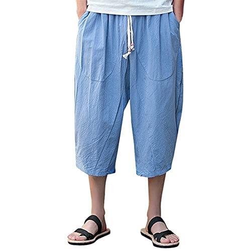 joyvio Pantalones Cortos Sueltos de Lino de algodón para Hombre 3/4 Verano Casual Boho Pantalones Cortos Largos Cintura elástica Pierna Ancha Playa Pantalones de Yoga (Color : Blue, Size : L)