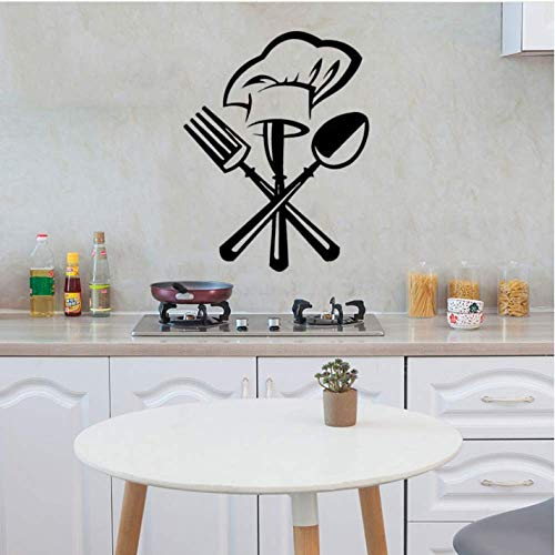 Wall Sticker 42Cm*36Cm Creative Cutlery Knife Fork Chef Hat Wall Sticker for Kitchen Restaurant Decoration Mural Decals Wallpaper Home Decor Stickers