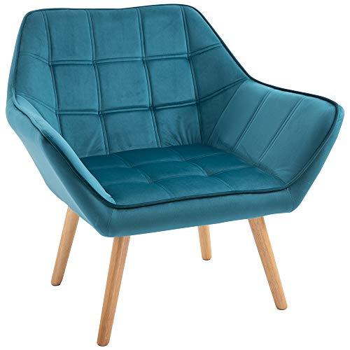 homcom Poltroncina dal Design Scandinavo in Legno e Velluto Color Petrolio, per Soggiorno o Ufficio, 79x69.5x72.5cm