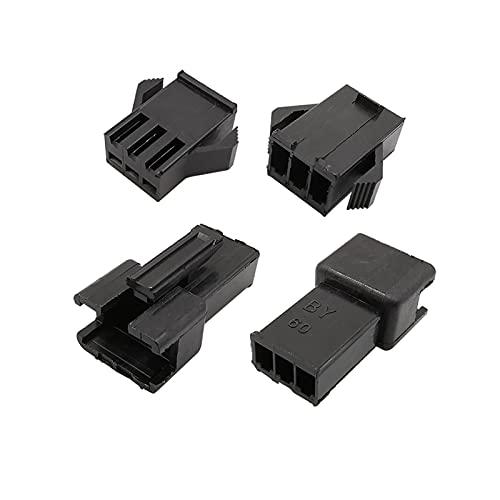 Marekyhm-es 10set 3pin Connector Pitch 2.54mm Enchufe masculino Socket Femenino Cáscara de plástico con conectores terminales (Color : Black)