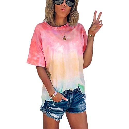 RWXXDSN Zomer tie-dye Gradient Printing Loose T-Shirt Dames top - rood - 5XL