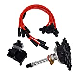 A-Team Performance Distributor, 8mm Spark Plug Wires, Ignition Coil, and Ignition Module Kit Compatible with 1996-2002 Chevrolet GM EFI Vortec C1500 K1500 C2500 K2500 Black Cap & Red Wires