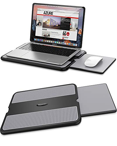 AboveTEK Portable Laptop Lap Desk w/ Retractable Left/Right Mouse Pad Tray, Non-Slip Heat Shield Tablet Notebook Computer Stand Table w/ Sturdy Stable Cooler Work Surface for Bed Sofa Couch or Travel