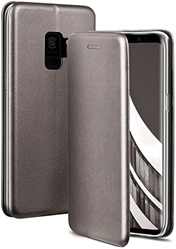 ONEFLOW Handyhülle kompatibel mit Samsung Galaxy S9 - Hülle klappbar, Handytasche mit Kartenfach, Flip Hülle Call Funktion, Leder Optik Klapphülle mit Silikon Bumper, Taupe