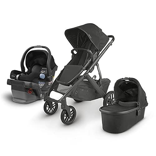 UPPAbaby Vista V2 Stroller - Jake (Black/Carbon/Black Leather) + Mesa Infant Car Seat - Jake (Black)