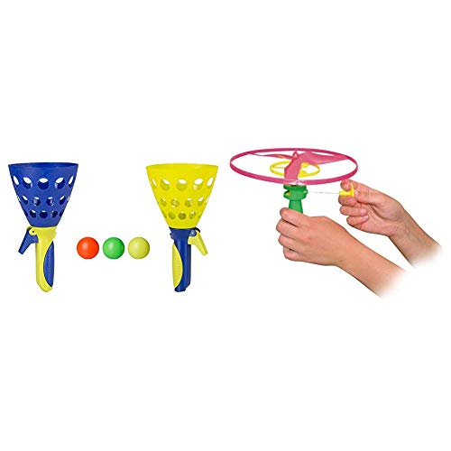 Idena 40006 Fangballspiel XXL mit 2 Fangbechern, inklusive 3 Bällen, Ballspiel für Garten, Park oder Strand, blau gelb & Paul Günther 1689 - Propellerspiel Twirly