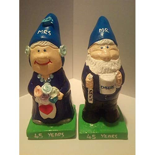 9d73da29f3 45th Sapphire Wedding Anniversary mr and mrs Gift gnome Figurines.Great Unique  Gift.Free