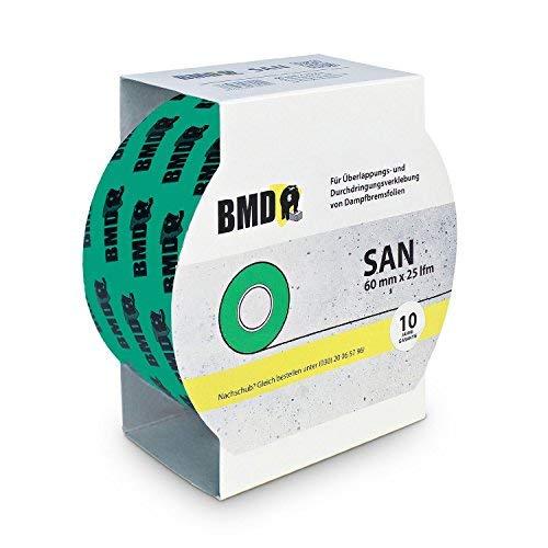 BMD - san Hochleistungsklebeband (Grün - 60mm x 25lfm) zur Verklebung von Dampfsperrfolie Dampfbremsfolie Dampfbremse Dampfsperre nach DIN Norm 4108 Teil 7 Klebeband