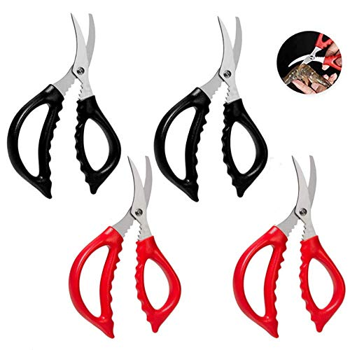 4 Pcs Seafood Scissors for Kitchen Seafood Fish Crab Shrimp Lobster Scissors Stainless Steel Shears