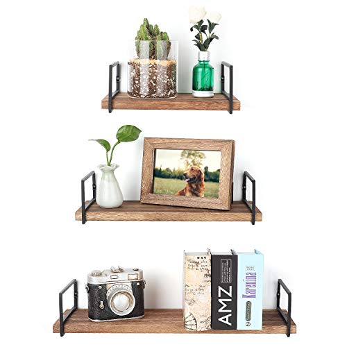 Minggoo Floating Shelves Wall Mounted Set of 3, Rustic Wood Wall Storage Shelves for Bedroom,Living Room,Bathroom, Torched Wood