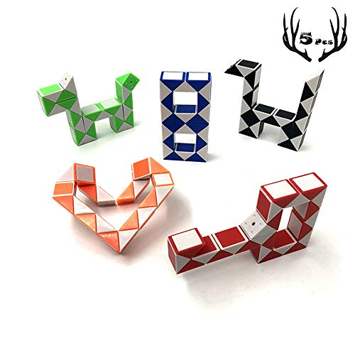 Speed Cube Snake Ruler Magic Snake Cube Puzzle Pack 24 Wedges Twist Puzzle Toys Game Toys Collection Brain Teaser Stickerless Cube Toys Christmas Birthday Gifts 5PCS