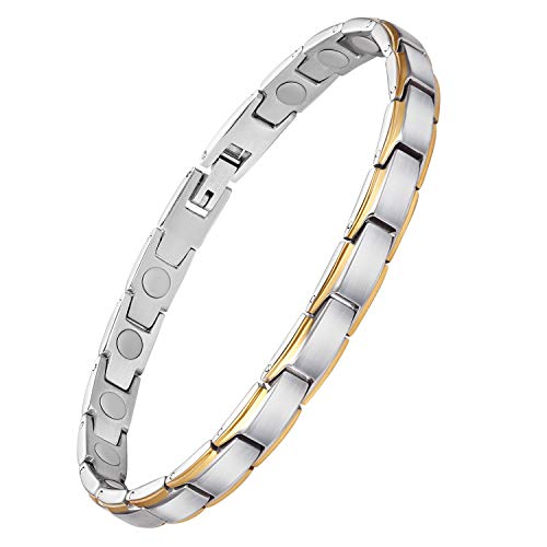 Feraco Magnetic Bracelets for Women Arthritis Pain Relief Elegant Stainless Steel Strong Magnets Therapy Bracelet, Silver Gold