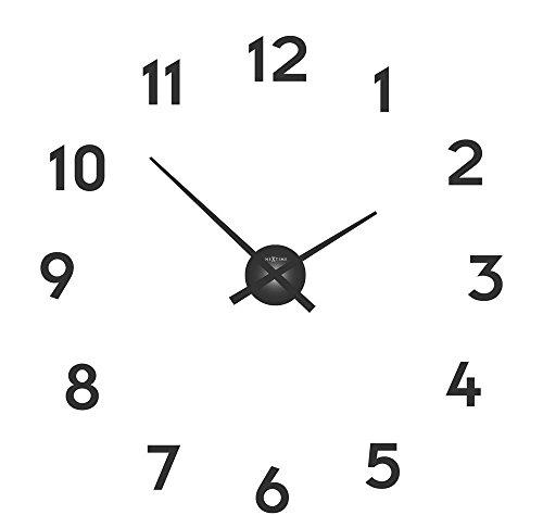 NeXtime Reloj de pared 'SMALL HANDS', agujas de aluminio, números para pegar, negro