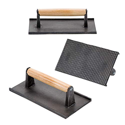 (Set of 3) Cast Iron Steak Weight/Bacon Press with Wooden Handle, 9 x 5-Inch Heavy-Weight Grill Press