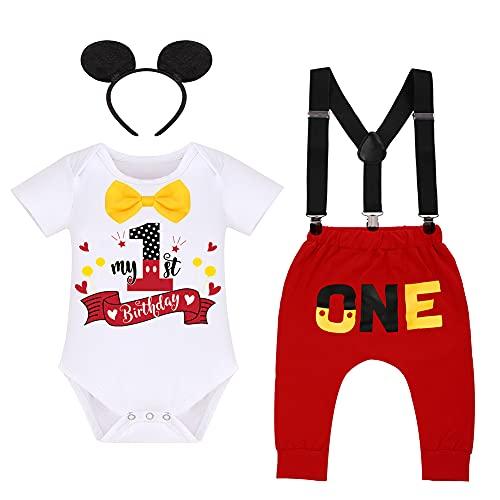 Pijama para bebé niño, 1º cumpleaños, diseño de Mickey Mouse, pijama + tirantes ajustables + pantalones + cinta para la cabeza, 4 piezas, para hombre, para hacer fotos rojo y blanco 6-12 Meses