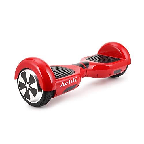 ACBK - Scooter Elettrico Hover Autobilanciato con Ruote da 6.5'' (Bluetooth + Luci a LED) velocità Massima: 10-12 km/h - Autonomia 10-20 km (Rosso)